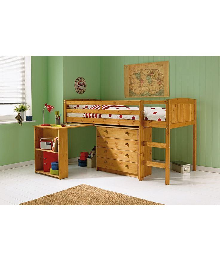 buy kelsey mid sleeper bed frame with desk antique pine at argosco - Childrens Bed Frames