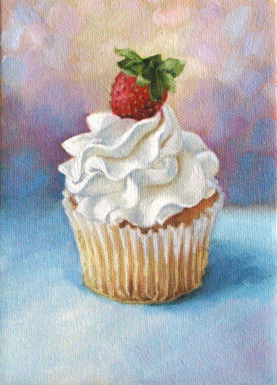 Cupcake painting Art print Birthday 8 x 10 by MollySimsFineArt