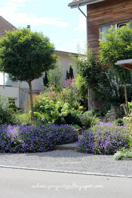 Vorgarten: Bäume, üppige Bepflanzung, nur schmaler Weg zur Tür