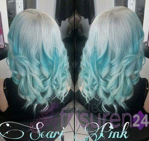 20 Blaue Haarfarbe Ideen – Pastell Blau Balayage Ombre Highlights – Damen Haare –  – #Kurzhaarfrisuren