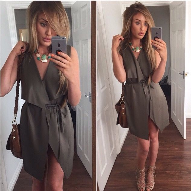Charlotte Crosby in the Kendall Waterfall jacket by In The Style UK