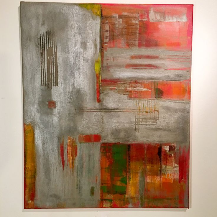 Concrete and acrylic abstract painting