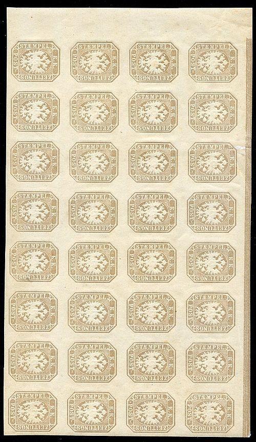 Francobolli per giornali (1,05 soldi) bruno grigiastro in blocco orizzontale di 32 es. angolo di foglio con margine superiore con parte della linea tipografica (11). Quasi tutti gomma integra (solo due linguellati) Cert. Bot.