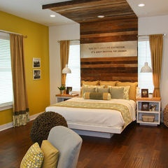 Recycled light timber, yellow and white decor.  Would like the backlighting from the other image like this.