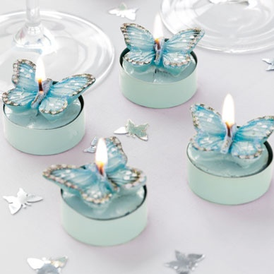 Turquoise butterfly tea lights - 6 pack