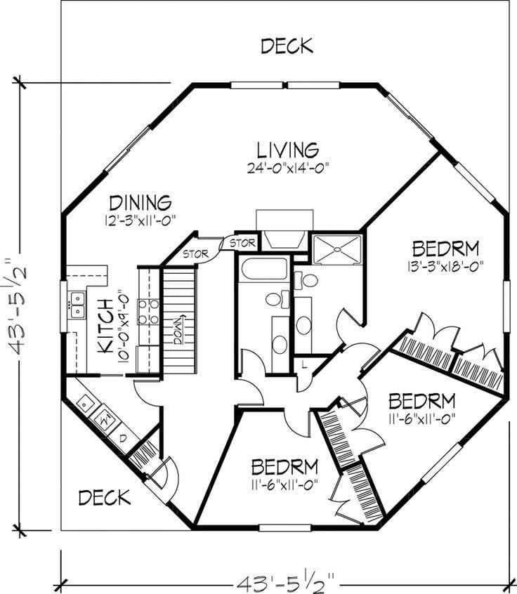 Octagon House floor plan, 1 of 2 levels