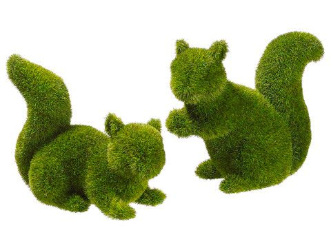 Alec 2-Piece Moss Covered Squirrel Topiary