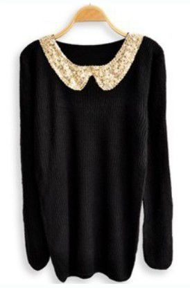 black sequined collar pullover