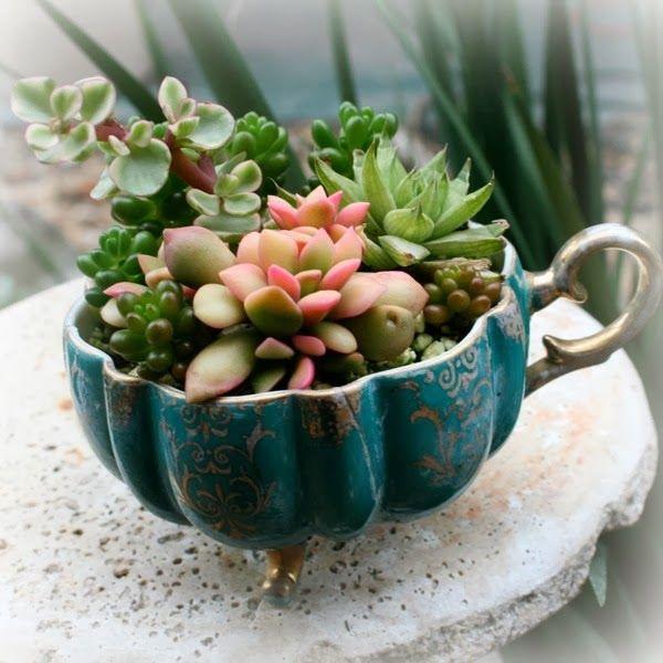 Reciclar decorar é vintage: Jardim alternativo, lovely DYD, têm xícaras antiga...