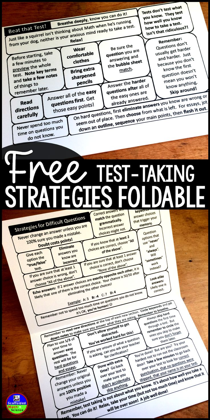Taking tests is uncomfortable! Easily slipped into a notebook or binder, this flippable is jam packed with the best test-taking tips and strategies that I have collected over the years. Especially with Math, taking exams is very emotional. These tips and strategies remind kids to have confidence in themselves.