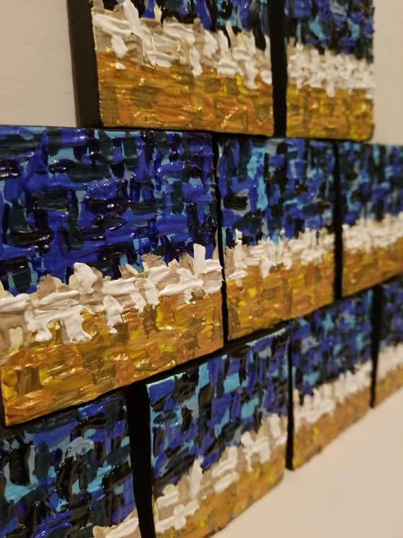 """Inspired by the thick texture and colors of van Goghs Starry Night, these miniature Misty City impasto paintings are 2.5"""" x 2.5"""" x .5"""" and have a magnetic backing. Perfect for displaying on your home or office refrigerator or giving as a gift."""