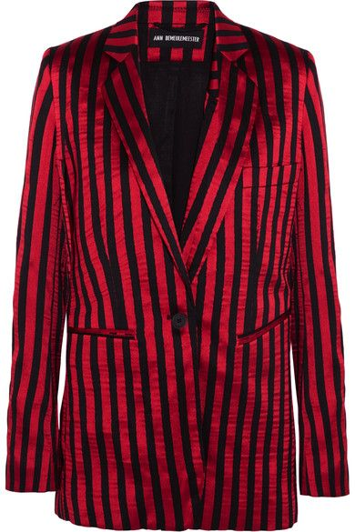 Ann Demeulemeester - Striped Satin And Twill Blazer - Claret - FR40