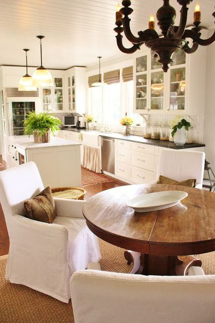 perfect sized round table in between the kitchen & the keeping room for eating, puzzles, games, coffee chats, etc....