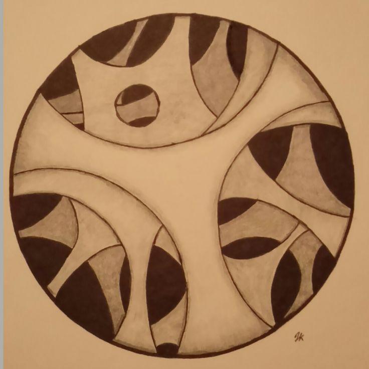 """""""peepholes 1"""" Zentangle art"""