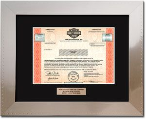 Harley Davidson Steel. Single Share of Stock in 2 Minutes | An Awesome Gift Idea by GiveAshare.com. Awesome Harley Davidson stock in an embossed stainless steel-look frame.