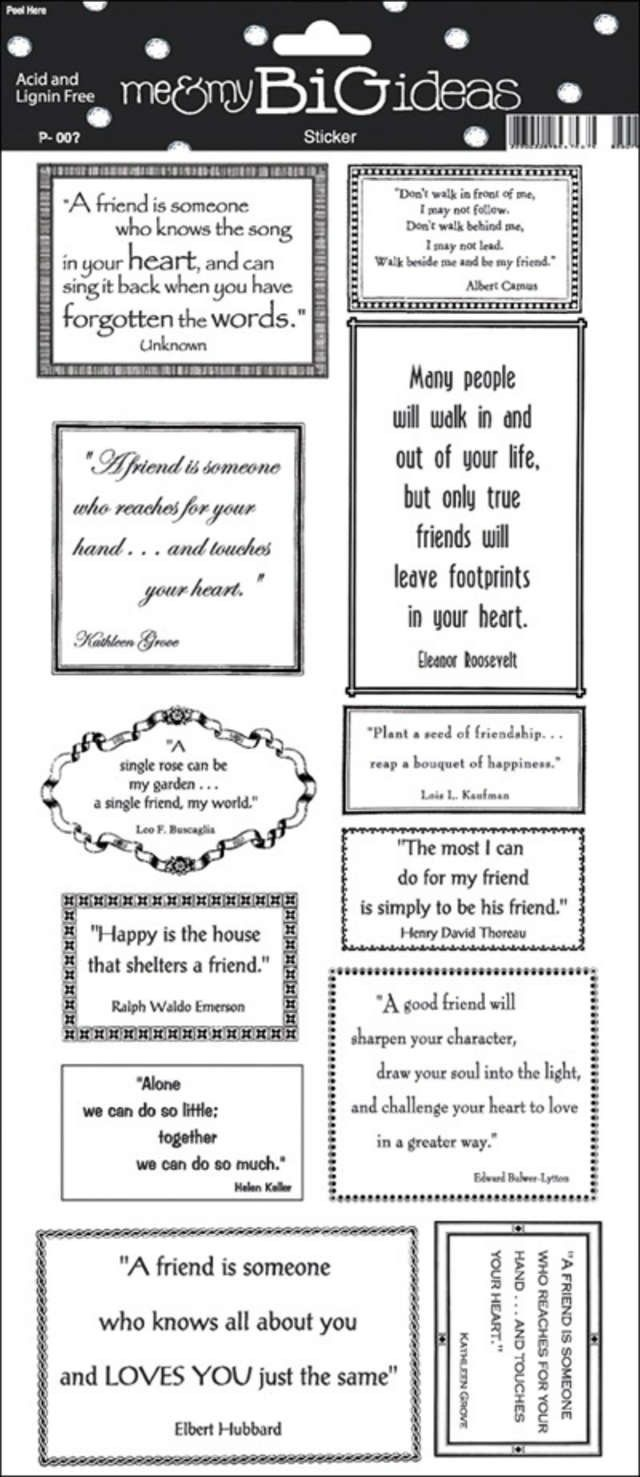 """Friendship Quotes Sayings Stickers 5.5""""X12"""" Sheet STP-20 - Scrapbooking Stickers"""
