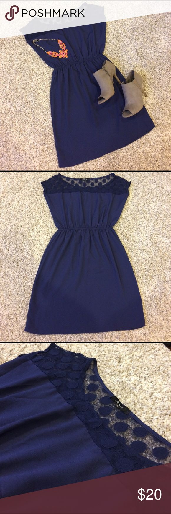 ☀️Navy summer dress☀️ Fun and flirty navy blue summer dress from Nordstrom. Has sheer polka dot detailing on the shoulder area. Synched elastic waist so is very flattering and forgiving. Extremely comfortable and very light weight. The perfect summer dress!! Nordstrom Dresses Mini