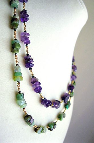 """The stones are a beautiful combination with their vibrant greens and purples. Chinese chrysoprase and amethyst chips beaded with seed beads on anti-tarnish golden brass metal wire, ending with a gold plated lobster clasp. I didn't use any jump rings in this necklace, so each of the beaded links is directly joined to one another forming a strong, and durable chain for long lasting wear. The necklace measures 17"""" inches in length and can be altered to any length upon request."""