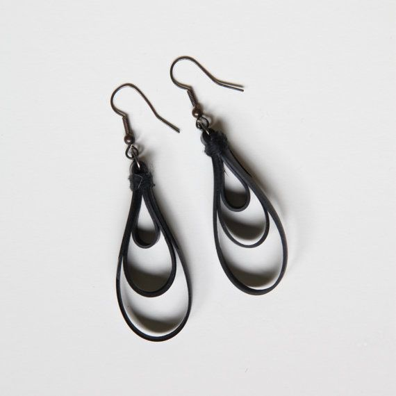 Recycled bike tubes made into earrings!
