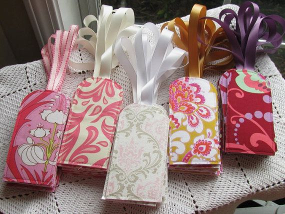 100 Custom Luggage Tags - Mixed Set - Wedding Favors - You choose the fabric on Etsy, $305.00