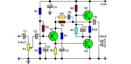 5 Watt Class-A Audio Amplifier Circuit Circuit Diagram