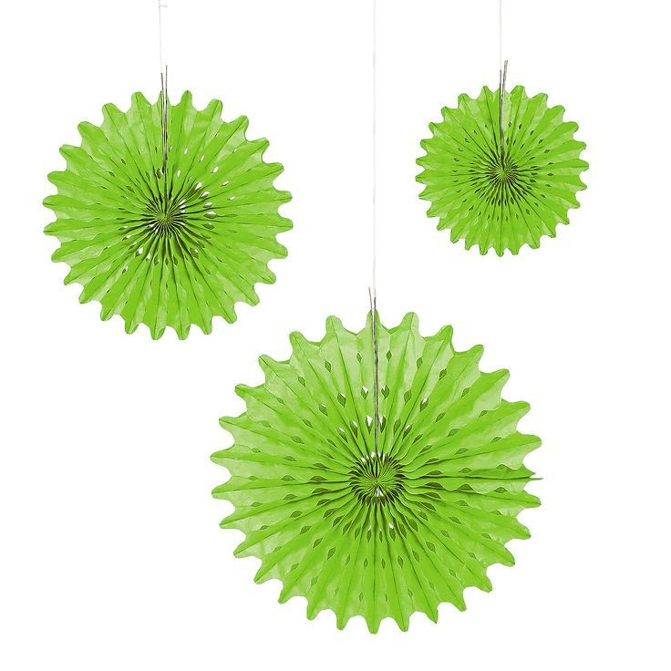 Lime Green Tissue Hanging Fans - OrientalTrading.com  10.99 per dozen http://www.orientaltrading.com/lime-green-tissue-hanging-fans-a2-3_4220-IN-0.fltr?xsaleSku=3/42224