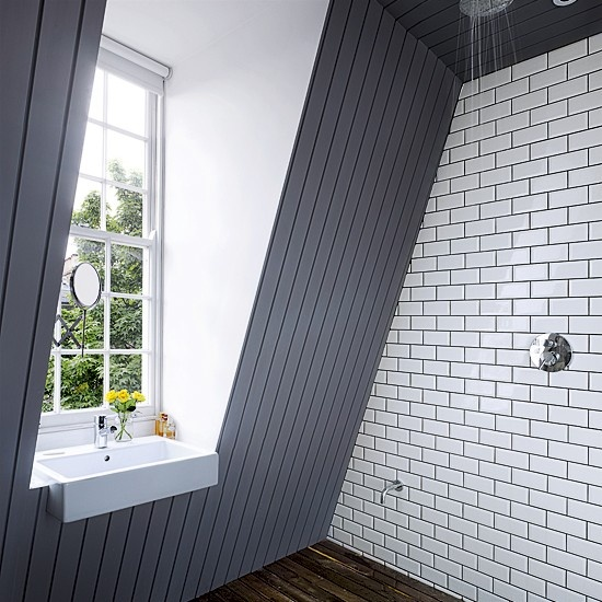 Inspiration from Bathrooms.com: Embrace the trend for subway style tiles. They'll never date (take it from us), and even white looks interesting. #bathroom #tiles #wetrooms #designideas