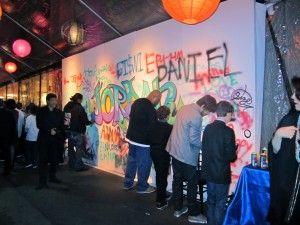 love the multitasking graffiti wall ... big decor and interactive entertainment