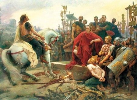 Vercingetorix surrenders to Caesar after the Siege of Alesia