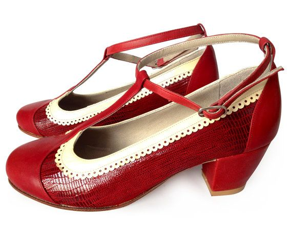 T-strap leather shoes in red by QuieroJune