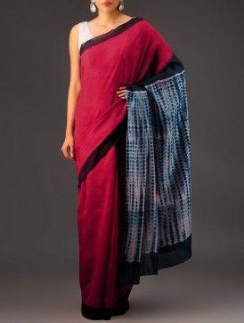 Red-Blue Clamp Dye Chanderi Saree