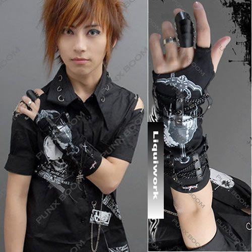 Black Knit Punk Rock Goth Biker Glove Arm Warmer Men Women SKU-71102013
