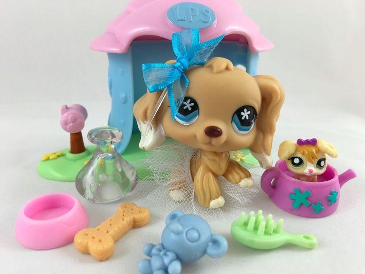 Littlest Pet Shop RARE Tan Cocker Spaniel #748 w/House, Teensie & Accessories #Hasbro