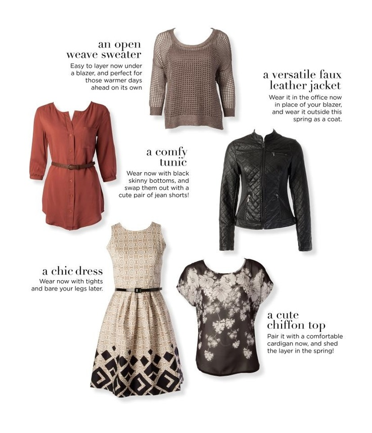 Wardrobe Must-Haves, according to Ricki's clothing store from Canada.  Spring 2013
