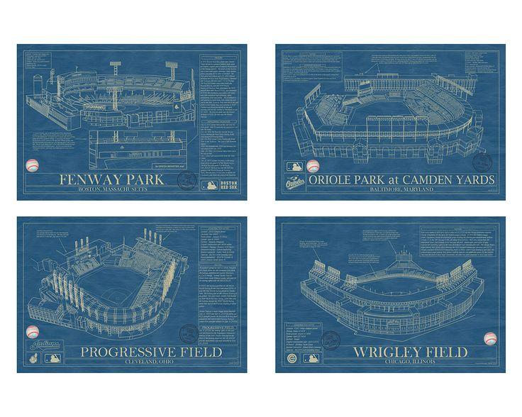 BALLPARK BLUEPRINTS | Baseball Wall Art, Yankee Stadium, AT&T Park, Ebbets Field, Busch | UncommonGoods