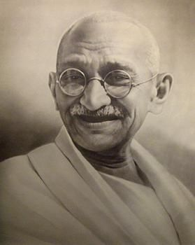 Mahatma Gandhi - revered by over a billion Indian citizens and peace loving people the world over. His life was an example of what peaceful negotiations can achieve and as such he has become the figure head for morality and patience. Well educated and with a sharp mind, Gandhi led India to independence from British rule. In the photo above he is seen with Pandit Nehru a day before they were arrested for their peaceful protests
