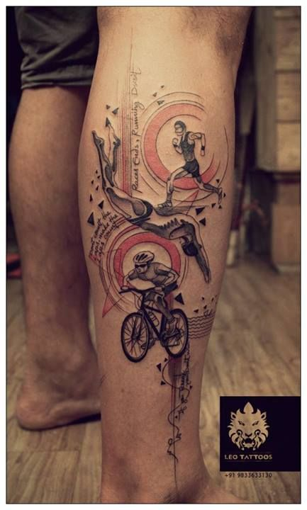 #triathlon #sports #freehand #customdesign #freehand #tattoo #leotattoos #matunga #Mumbai #India