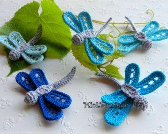 Crochet dragonfly Crochet applique Blue Turquoise Home decorations