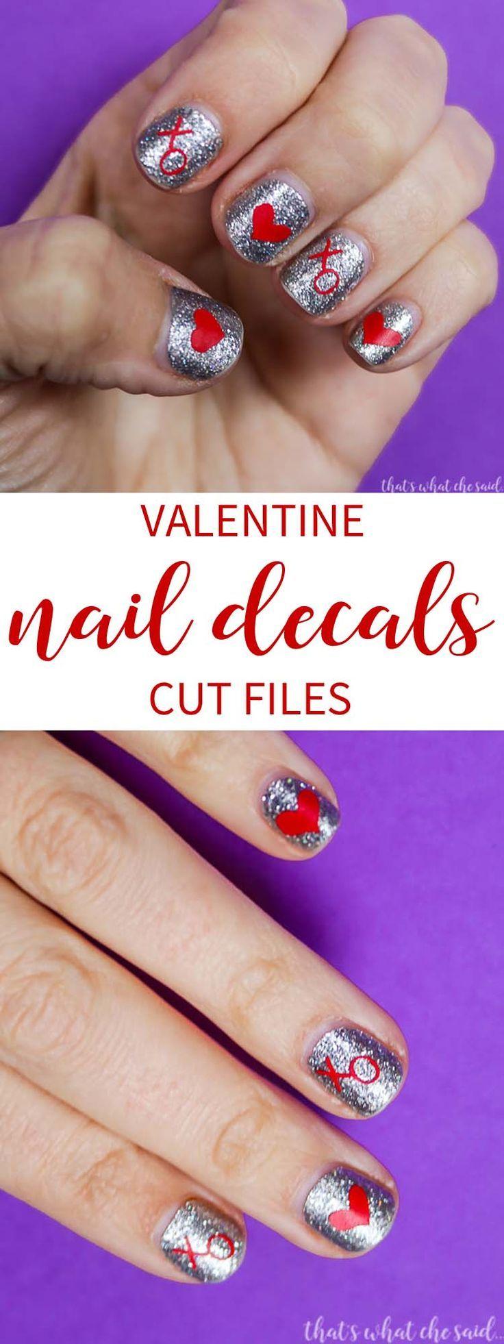 Valentine Nail Decals Diy valentine's nails, Nail decals