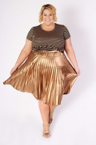 Plus Size Clothing for Women - Jessica Kane Bronze Pleated Skirt (Sizes 14 - 32) - Society+ - Society Plus - Buy Online Now!