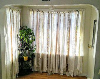 Burlap Lace Curtain ~ Shabby Burlap Garland, long ~ Rustic Wedding Garland Backdrop ~ Burlap Backdrop ~ Burlap White Lace Home Curtains