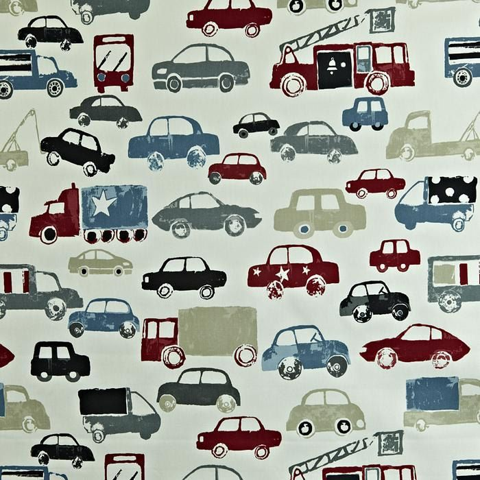Traffic and vehicles fun red, blue, beige and grey gray childrens curtains in choice of size by TheFunkyNurseryshop on Etsy