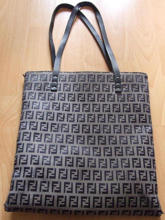 Vintage Designer Fendi Zucca Pattern Canvas Tote Bag Logo
