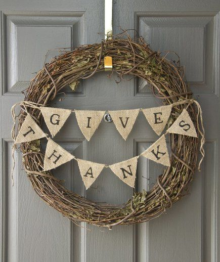 Thanksgiving Wreath With Burlap Bunting | RealSimple.com                                                                                                                                                      More