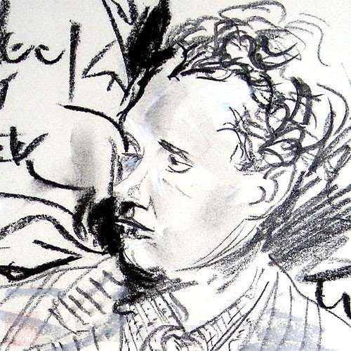 an attempt to make a Dylan Thomas portrait, mixed media on paper. (detail)