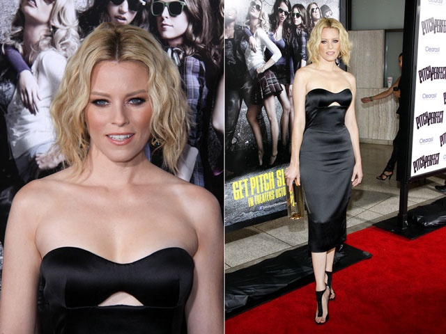 #LookoftheDay: Black Bustier. Elizabeth Banks clad in a silky Alexander McQueen Resort 2013 dress at the premiere of Pitch Perfect in Los Angeles. #stylestars #redcarpet