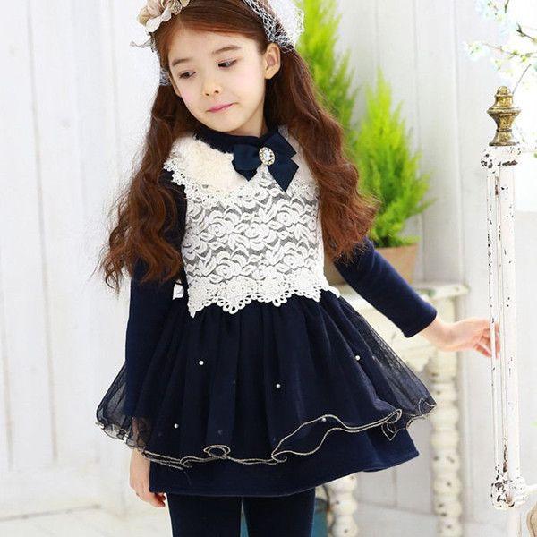 2015 Winter Kids dress Toddler Girls Princess Dress Three Quarter Bowknot Lace dress Patchwork Baby Girl Dress girl Clothing