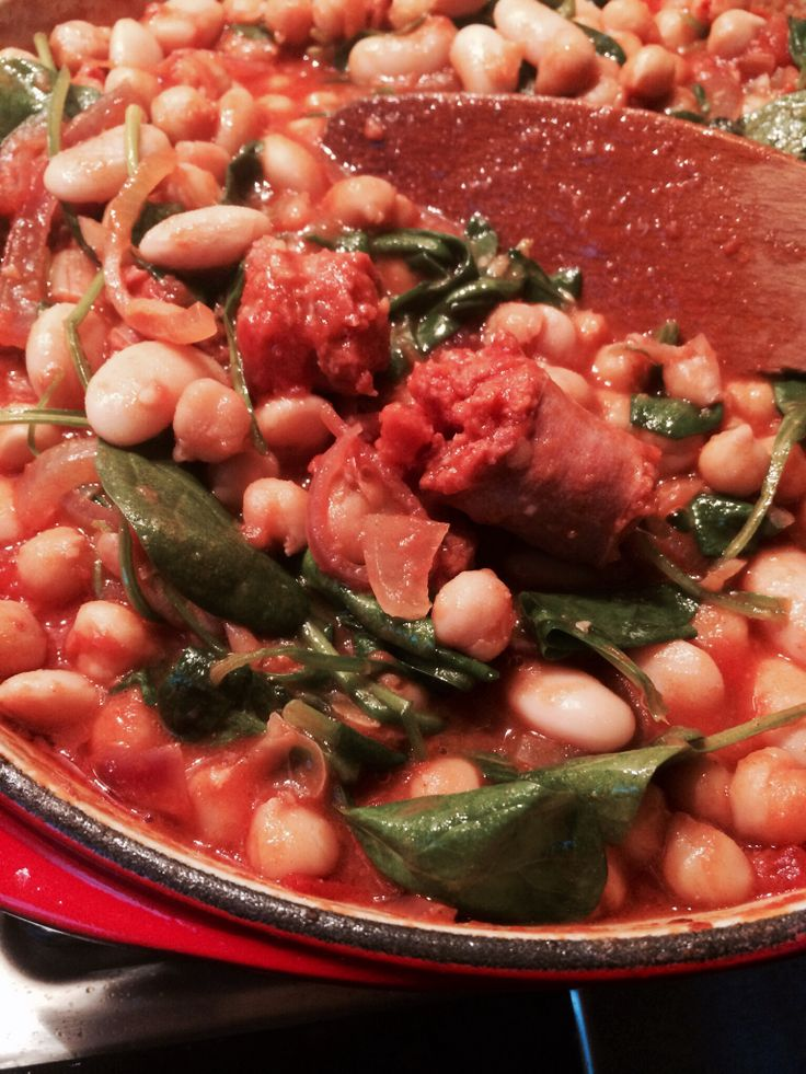 Lima bonen schotel met zachte chorizo worst