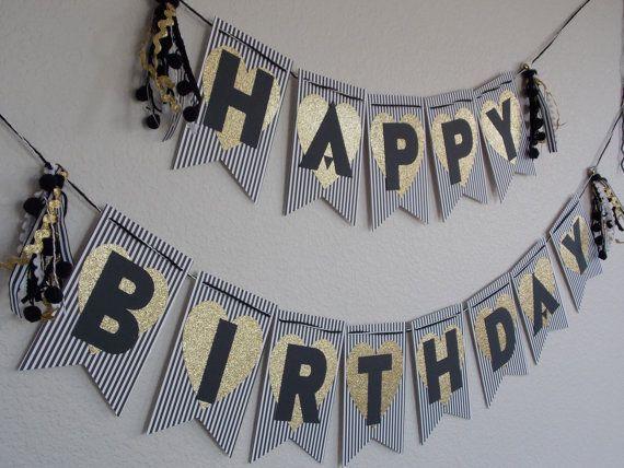 Noir et blanc rayé la bannière de paillettes d'or coeur joyeux anniversaire bannière de gland, guirlande de gland, premier anniversaire, décorations noir or blanc