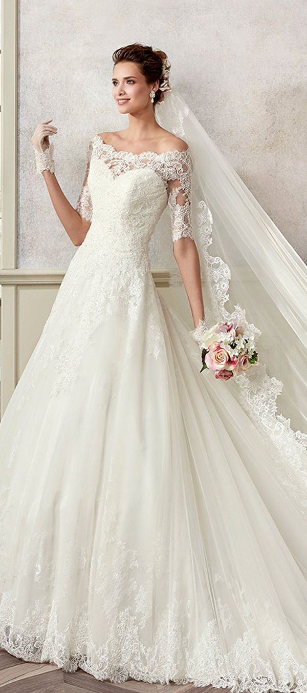 Modest Tulle & Satin Off-the-shoulder Neckline A-Line Wedding Dresses With Beaded Lace Appliques